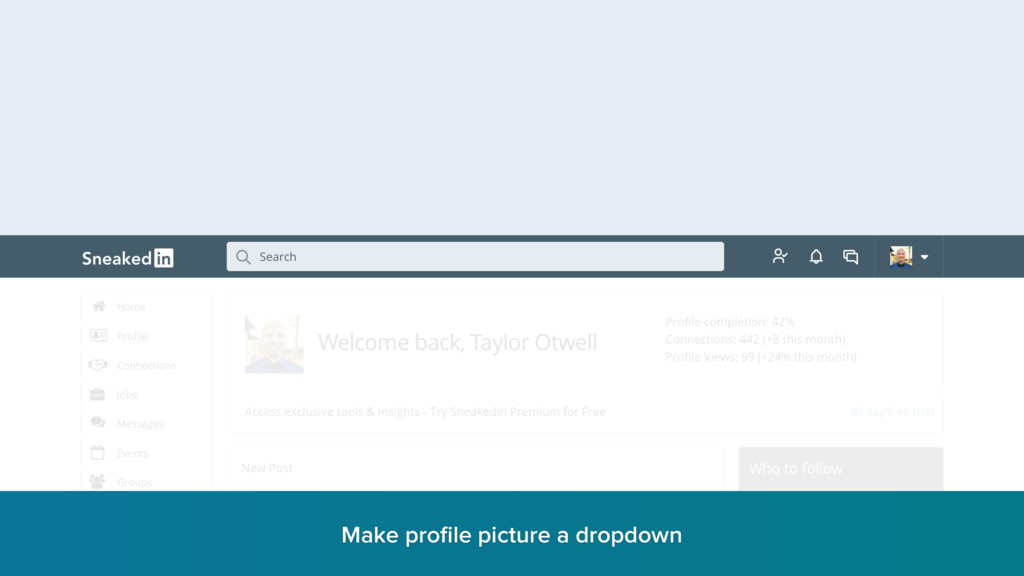 Make profile picture a dropdown