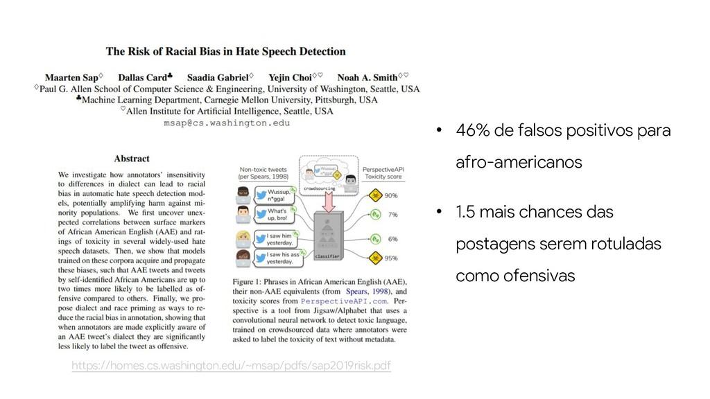 • 46% de falsos positivos para afro-americanos ...