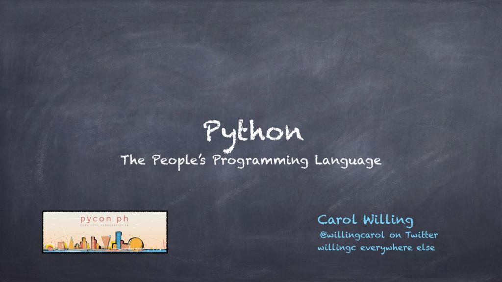 Python The People's Programming Language Carol ...