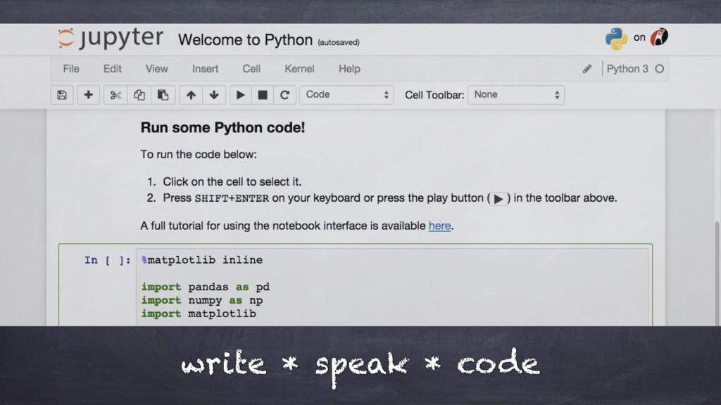 write * speak * code