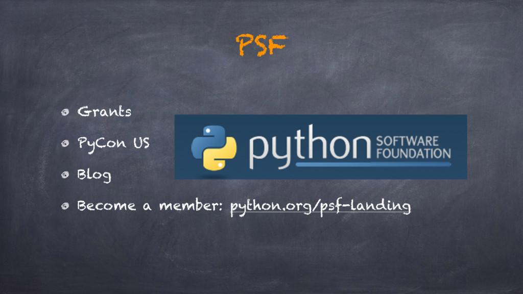 Grants PyCon US Blog Become a member: python.or...