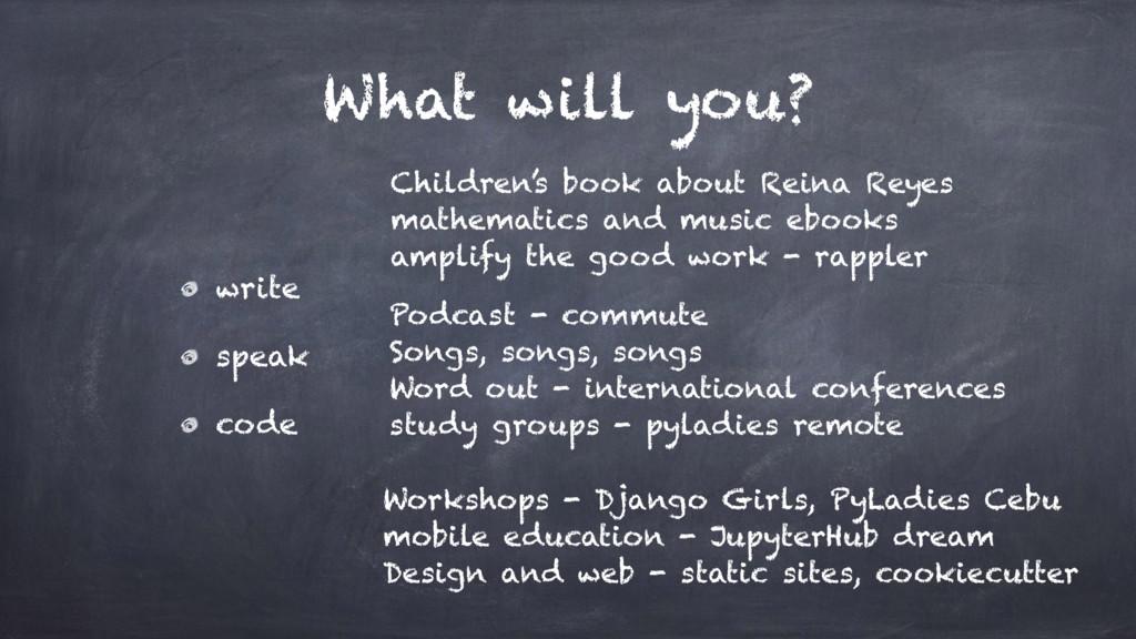 What will you? write speak code Podcast - commu...