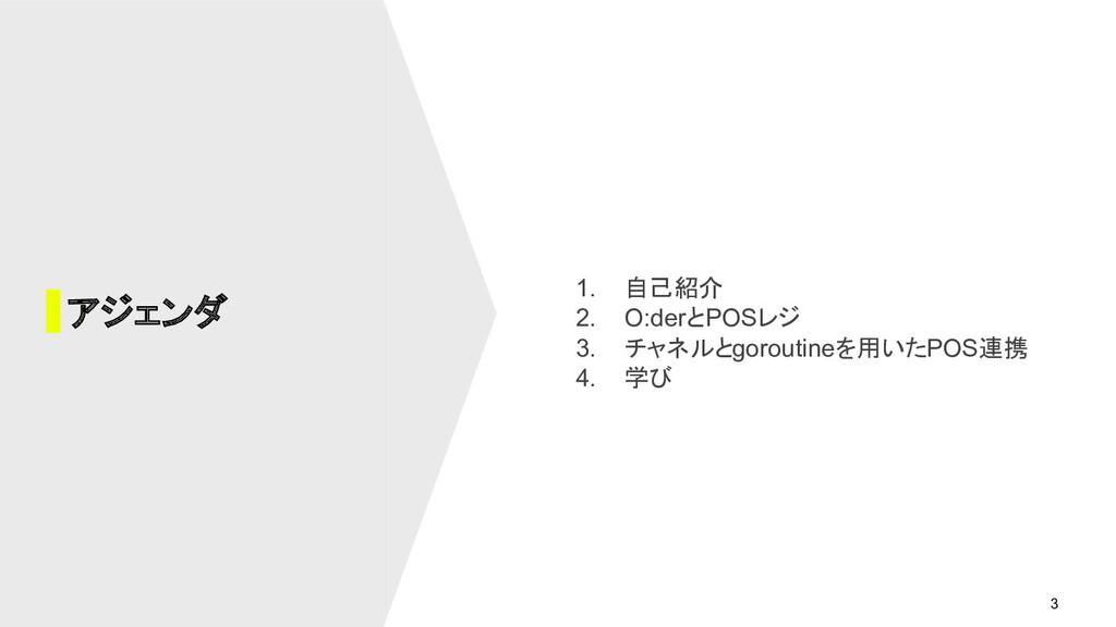 3 1. 自己紹介 2. O:derとPOSレジ 3. チャネルとgoroutineを用いたP...