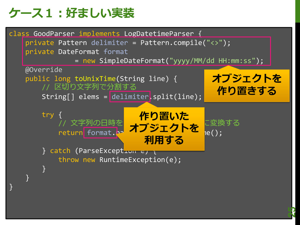 ケース1:好ましい実装 class GoodParser implements LogDate...