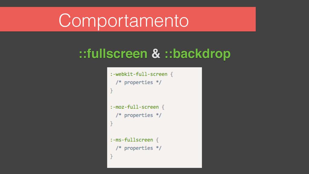 Comportamento ::fullscreen & ::backdrop