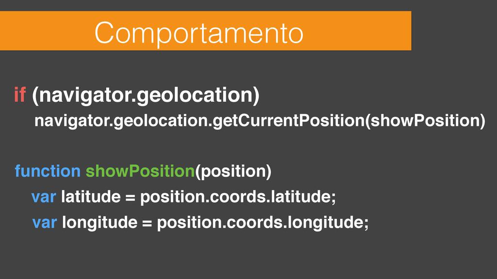 Comportamento if (navigator.geolocation) naviga...