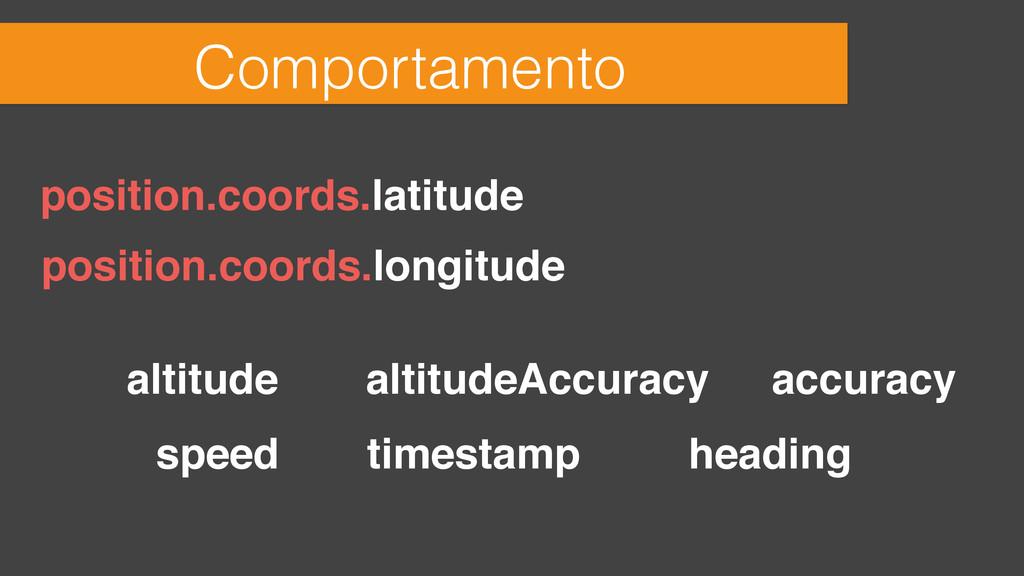 Comportamento position.coords.latitude position...