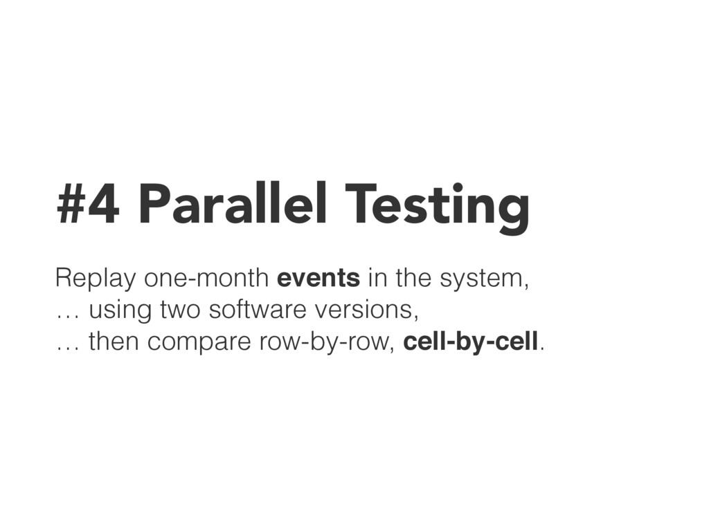 #4 Parallel Testing Replay one-month events in ...