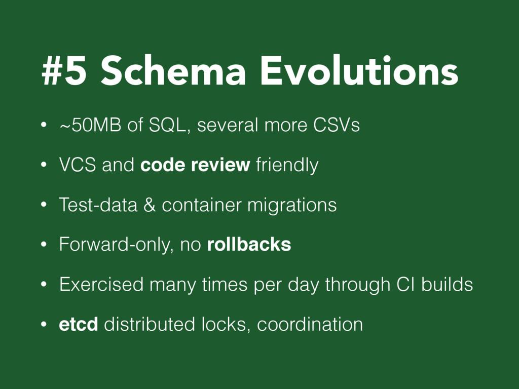 #5 Schema Evolutions • ~50MB of SQL, several mo...