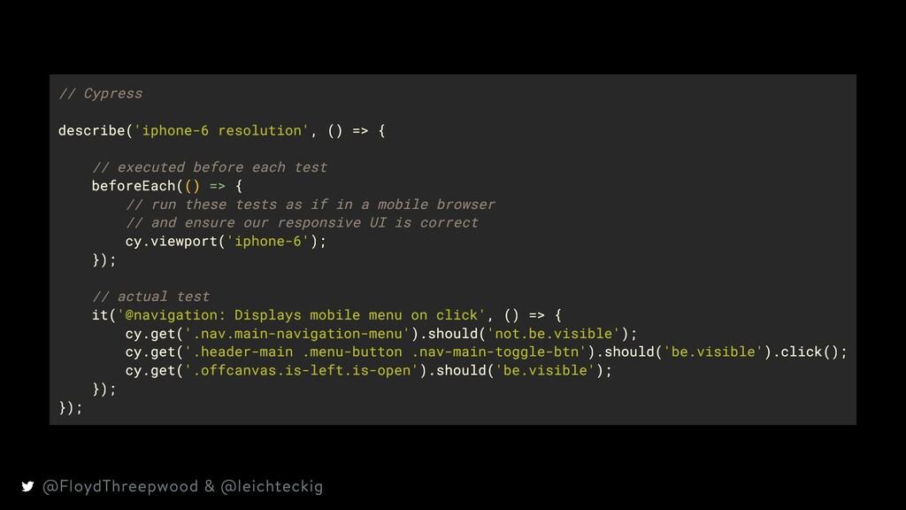 // Cypress describe('iphone-6 resolution', () =...