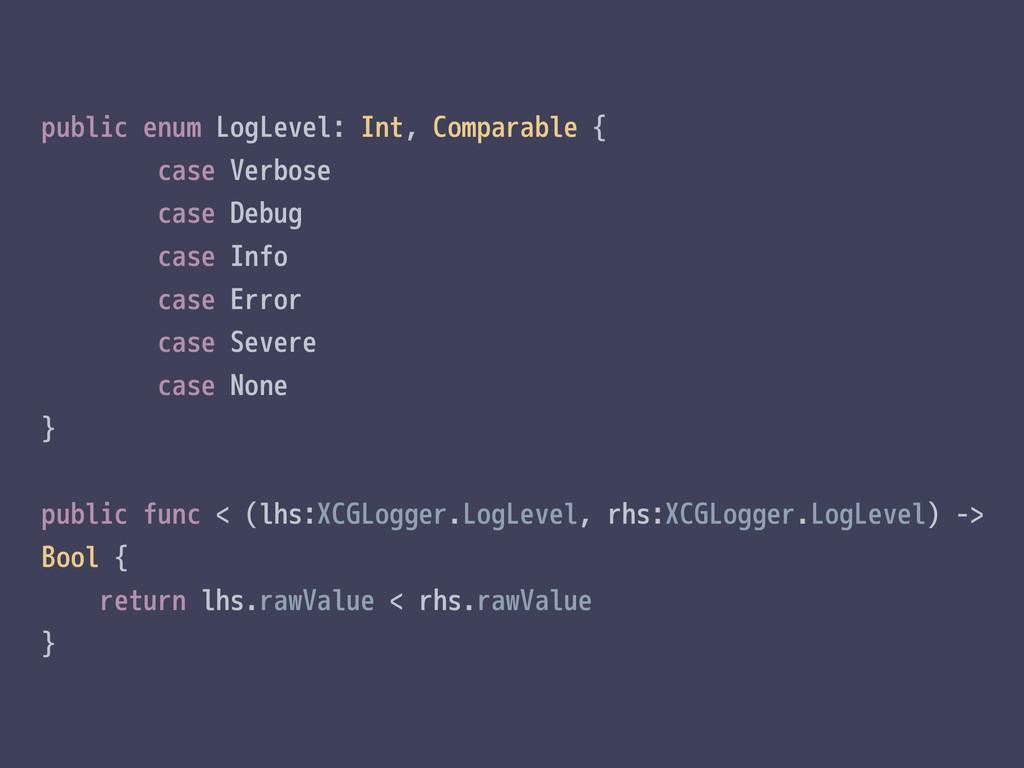 public enum LogLevel: Int, Comparable { case Ve...