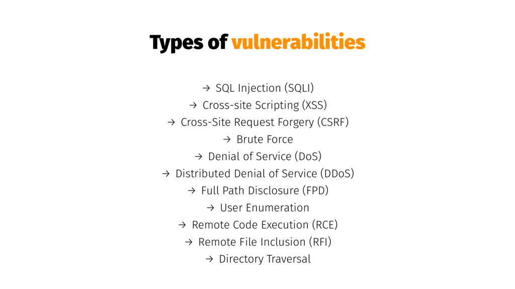Types of vulnerabilities → SQL Injection (SQLI)...