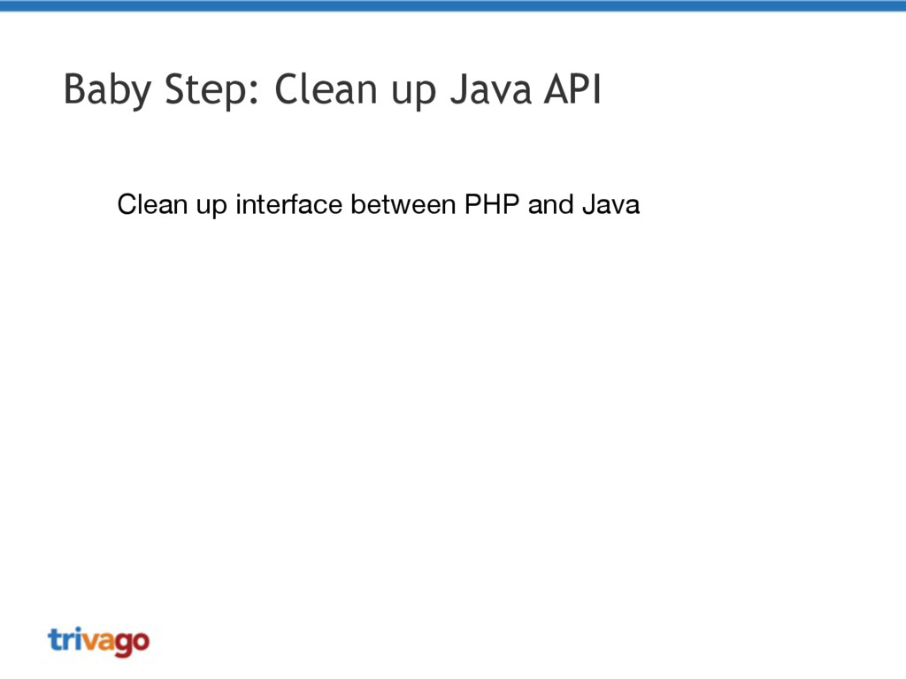 Baby Step: Clean up Java API Clean up interface...