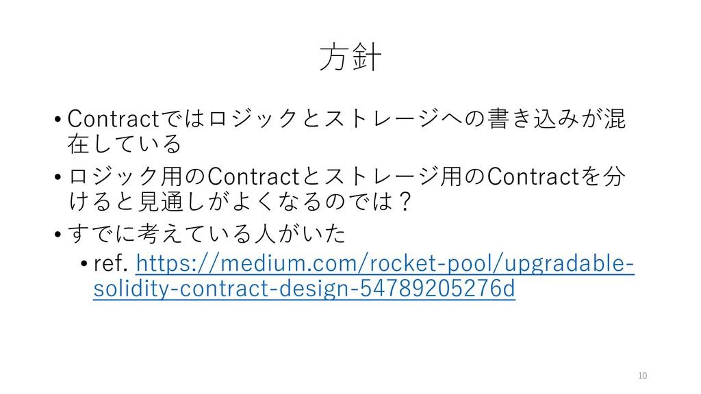 ⽅針 • Contractではロジックとストレージへの書き込みが混 在している • ロジック⽤...