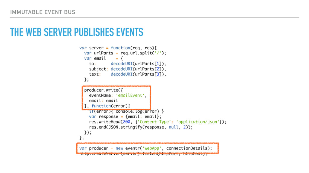 IMMUTABLE EVENT BUS THE WEB SERVER PUBLISHES EV...
