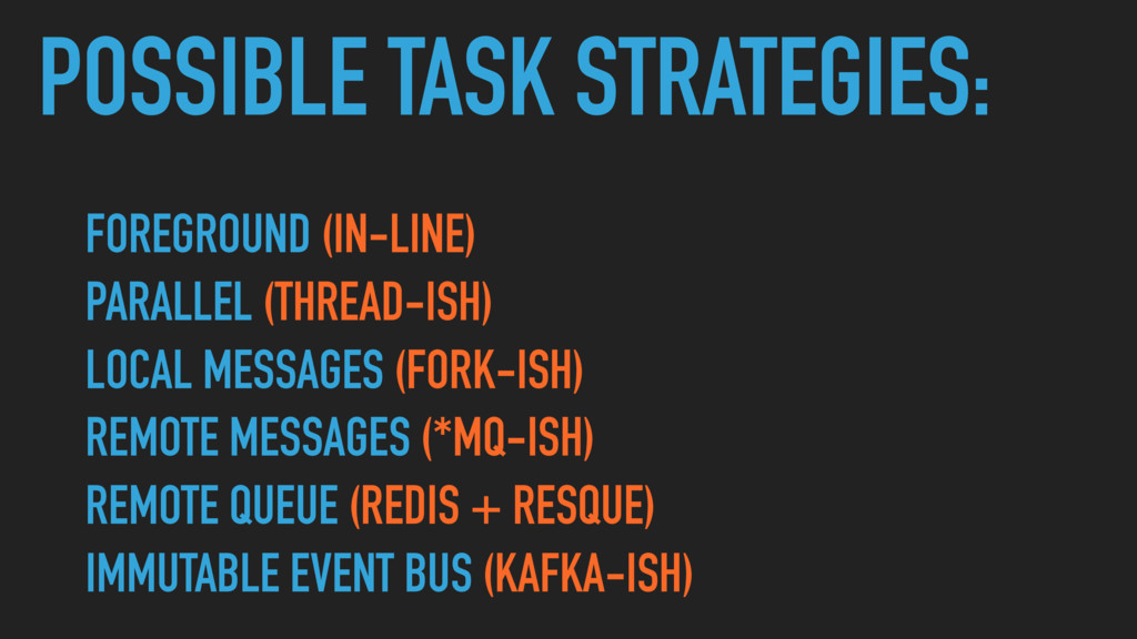 POSSIBLE TASK STRATEGIES: FOREGROUND (IN-LINE) ...