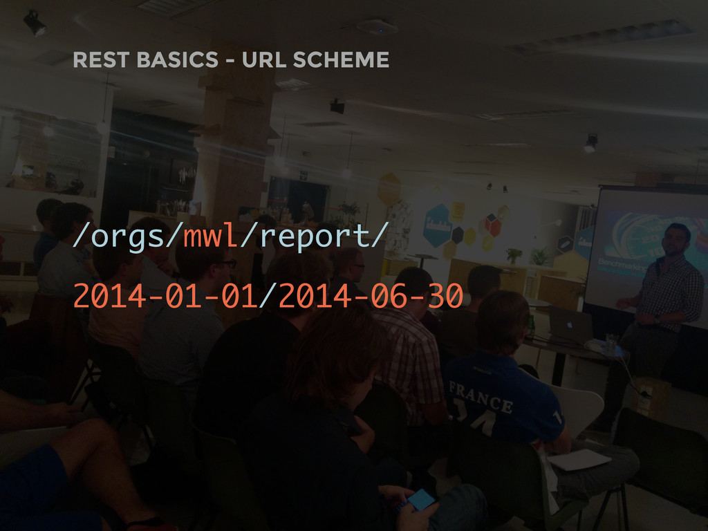 REST BASICS - URL SCHEME /orgs/mwl/report/ 2014...