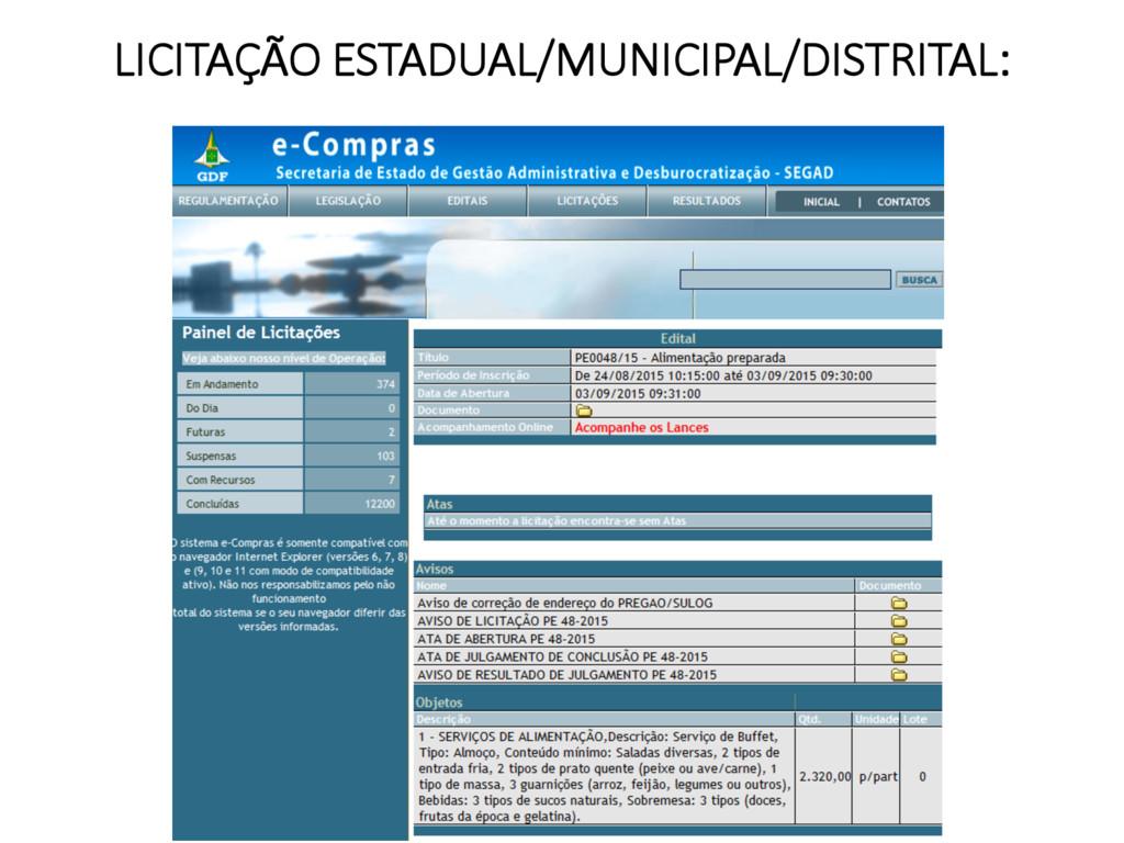 LICITAÇÃO ESTADUAL/MUNICIPAL/DISTRITAL: