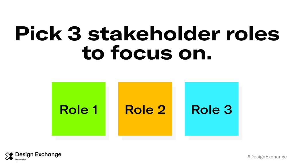 Pick 3 stakeholder roles to focus on. #DesignEx...