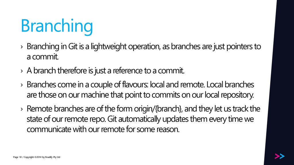 Page Branching › Branching in Git is a lightwei...