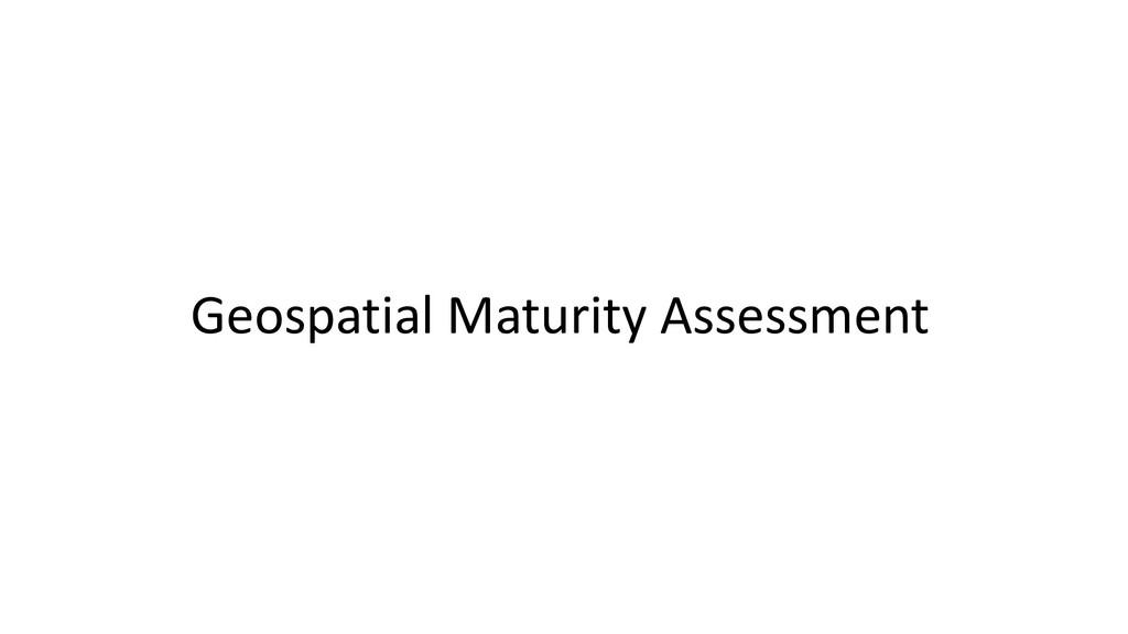 Geospatial Maturity Assessment