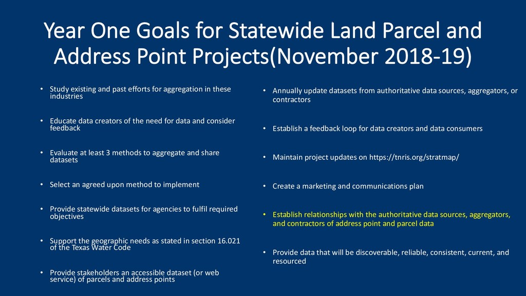Year One Goals for Statewide Land Parcel and Ad...
