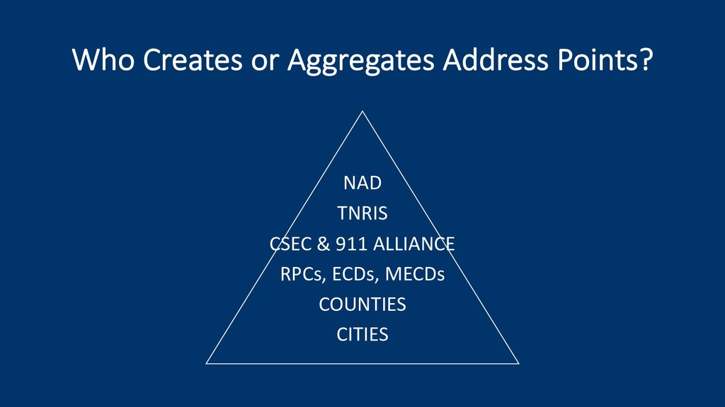 Who Creates or Aggregates Address Points? NAD T...