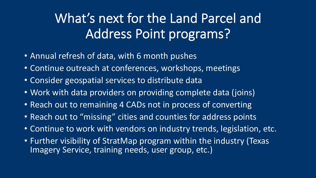 What's next for the Land Parcel and Address Poi...