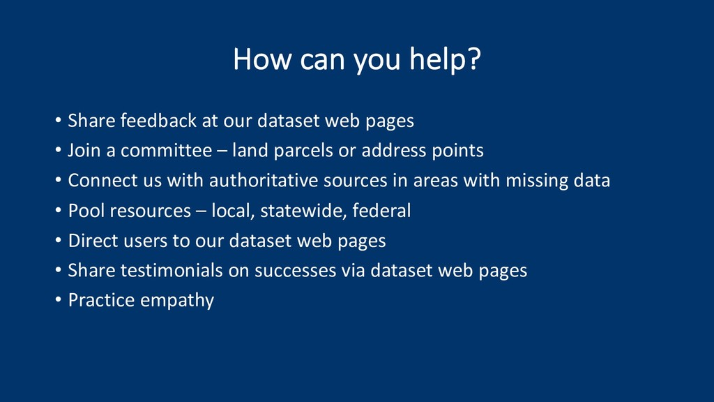 How can you help? • Share feedback at our datas...