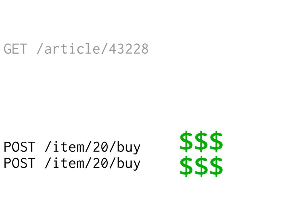 GET /article/43228 POST /item/20/buy POST /item...