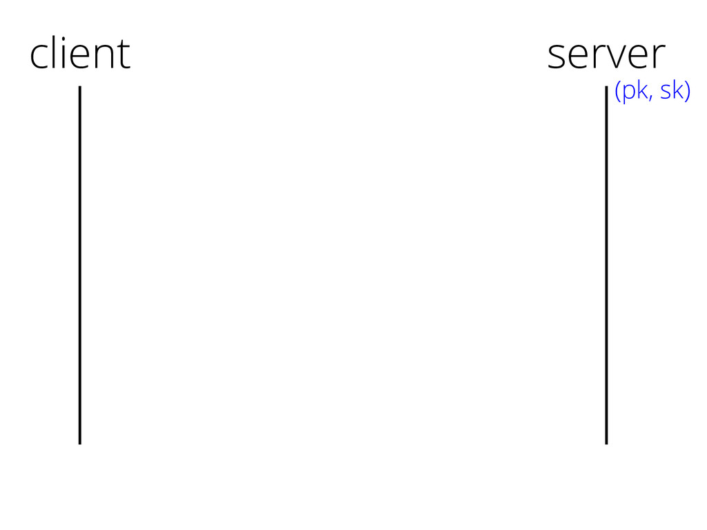 client server (pk, sk)