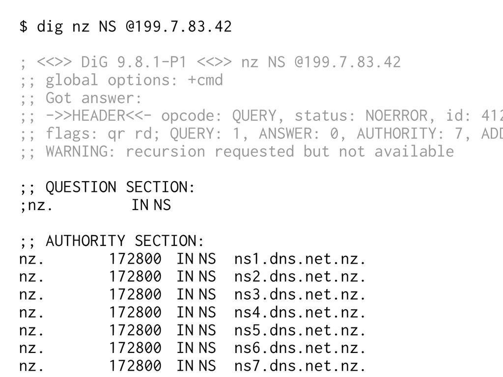 $ dig nz NS @199.7.83.42 ; <<>> DiG 9.8.1-P1 <<...