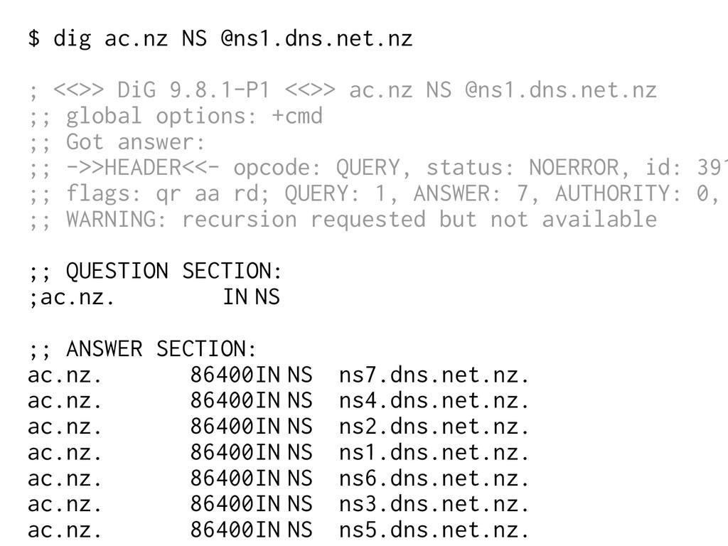 $ dig ac.nz NS @ns1.dns.net.nz ; <<>> DiG 9.8.1...