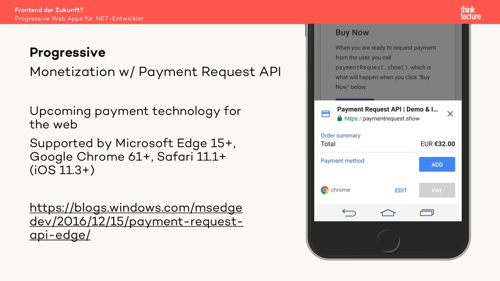 Monetization w/ Payment Request API Upcoming pa...