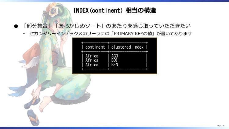 INDEX(continent) 相当の構造 「部分集合」「あらかじめソート」のあたりを感じ取...