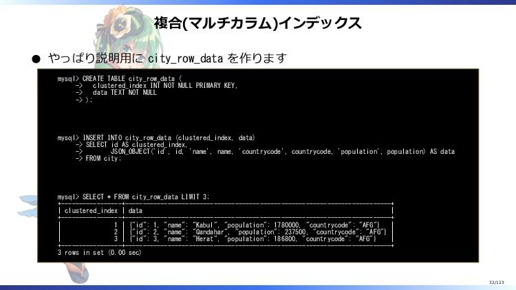複合(マルチカラム)インデックス やっぱり説明用に city_row_data を作ります m...