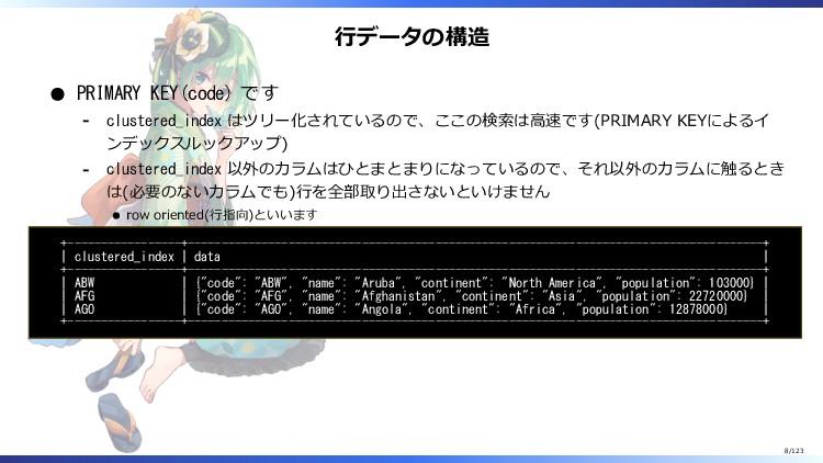行データの構造 PRIMARY KEY(code) です clustered_index はツ...