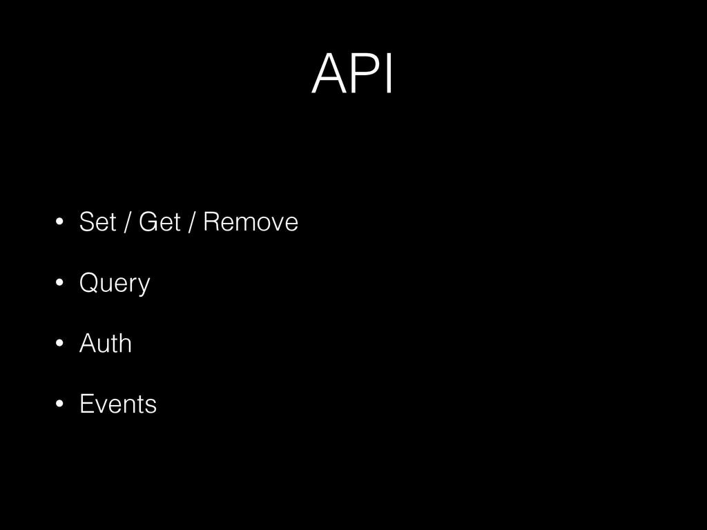 API • Set / Get / Remove • Query • Auth • Events