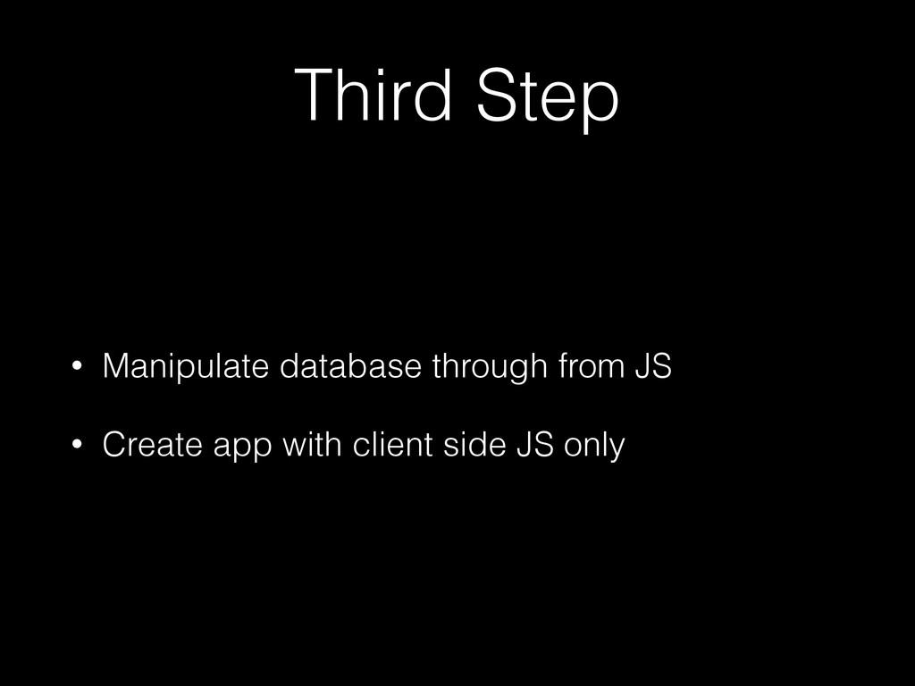 Third Step • Manipulate database through from J...