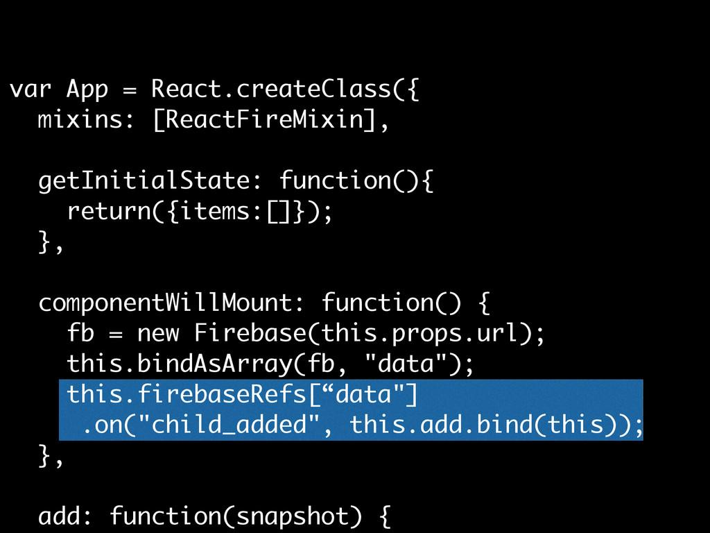 var App = React.createClass({ mixins: [ReactFir...