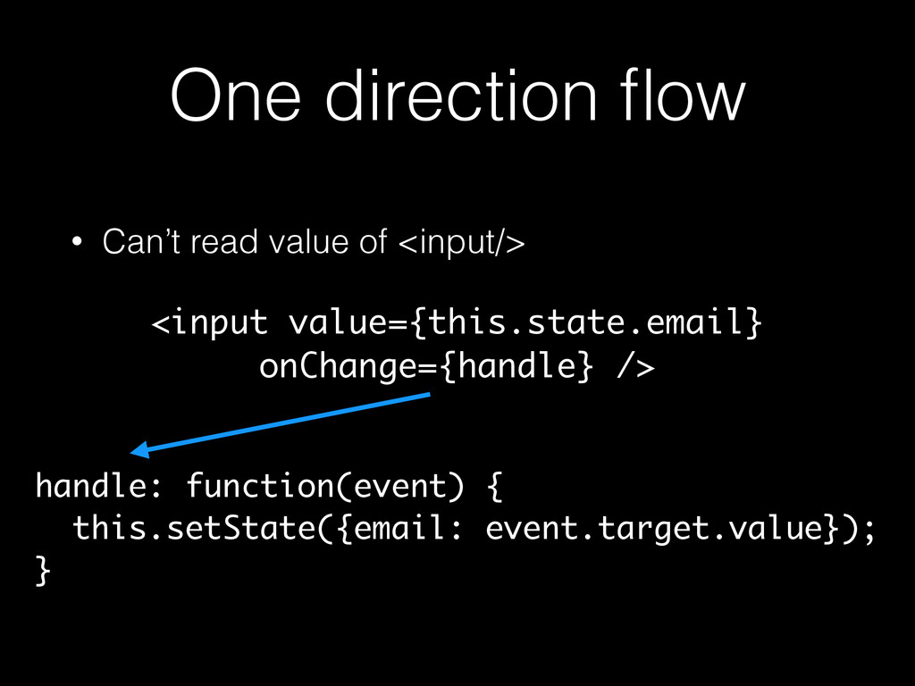 One direction flow • Can't read value of <input/...