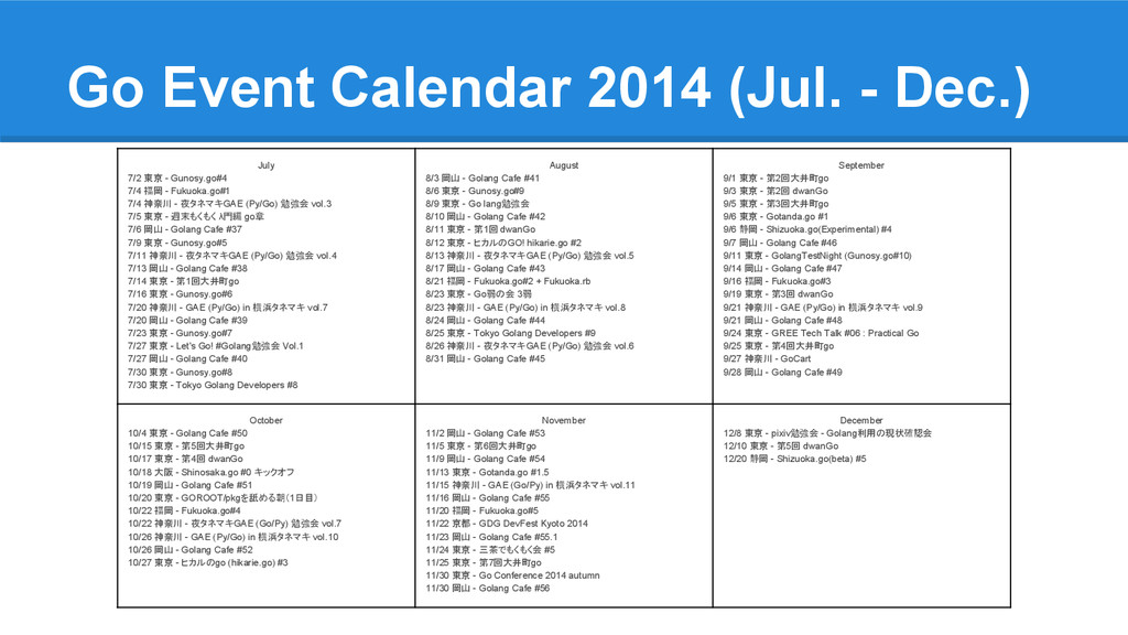 Go Event Calendar 2014 (Jul. - Dec.) July 7/2 東...