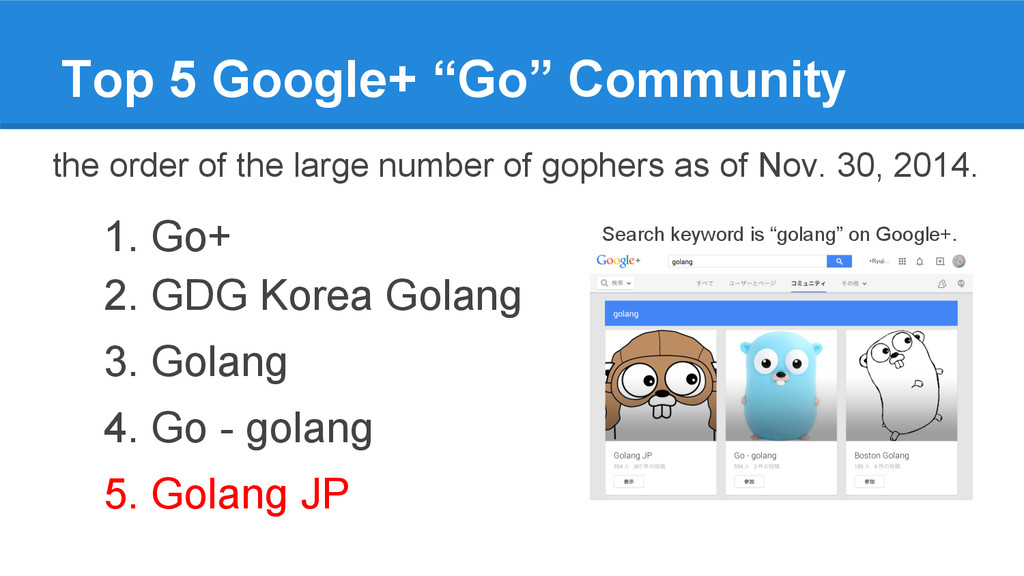 "Top 5 Google+ ""Go"" Community the order of the l..."