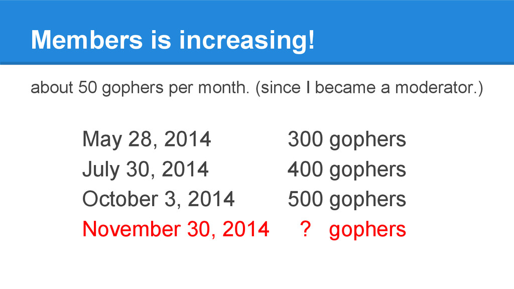 Members is increasing! about 50 gophers per mon...