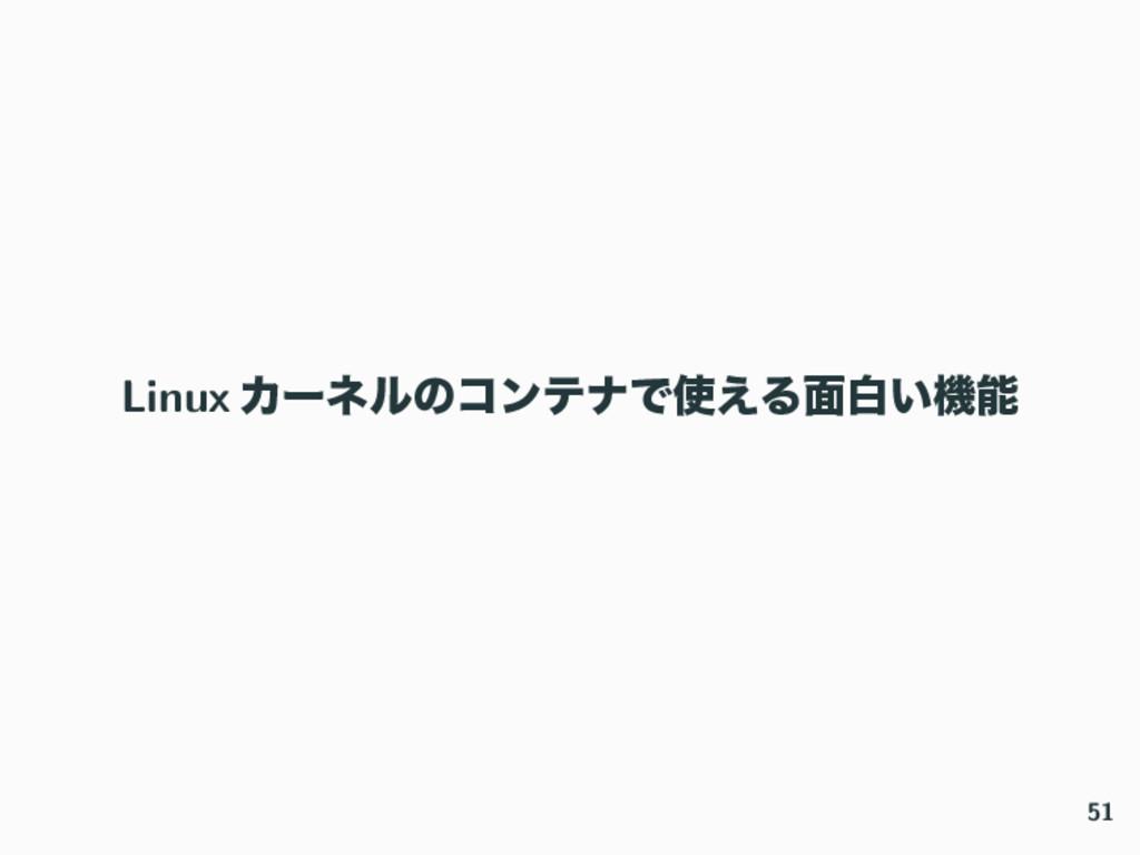 Linux ΧʔωϧͷίϯςφͰ͑Δ໘ന͍ػ 51