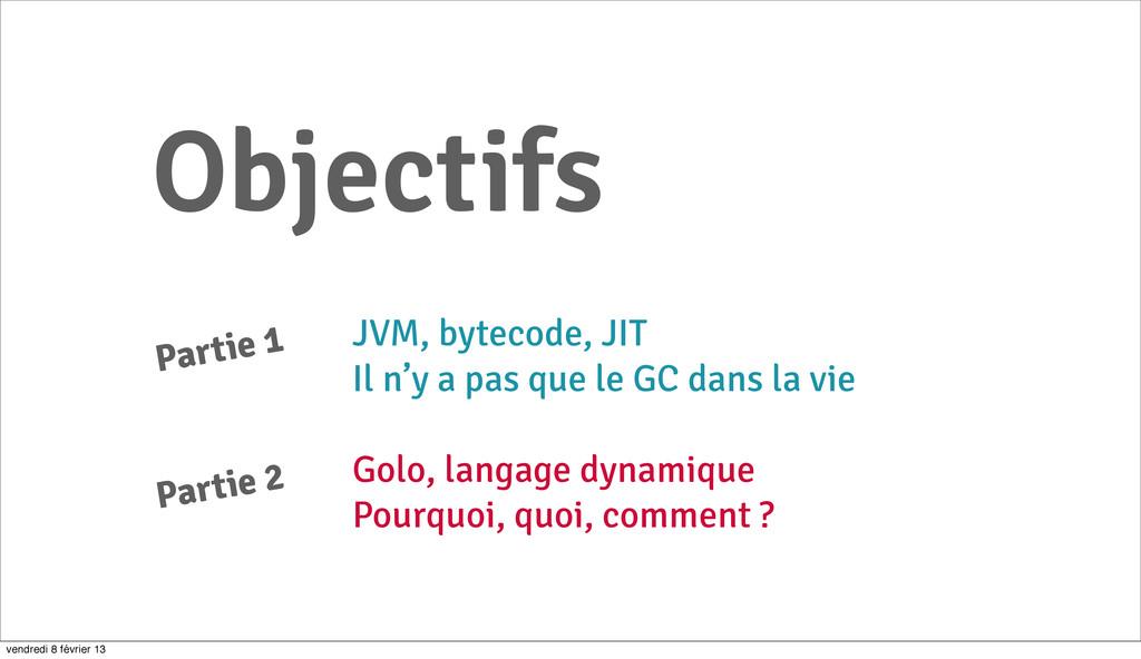 3 Objectifs JVM, bytecode, JIT Il n'y a pas que...