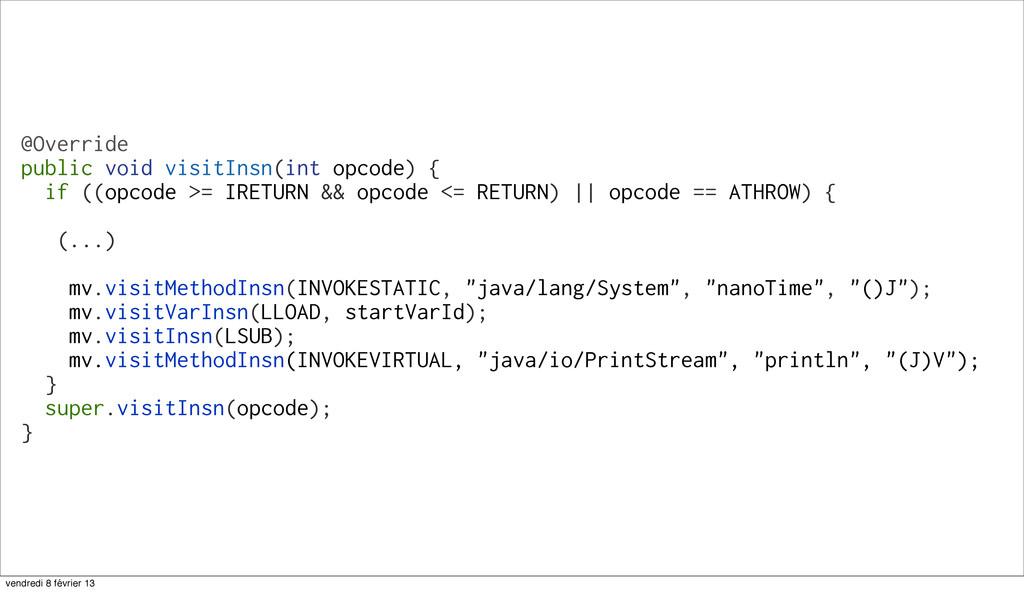 54 @Override public void visitInsn(int opcode) ...