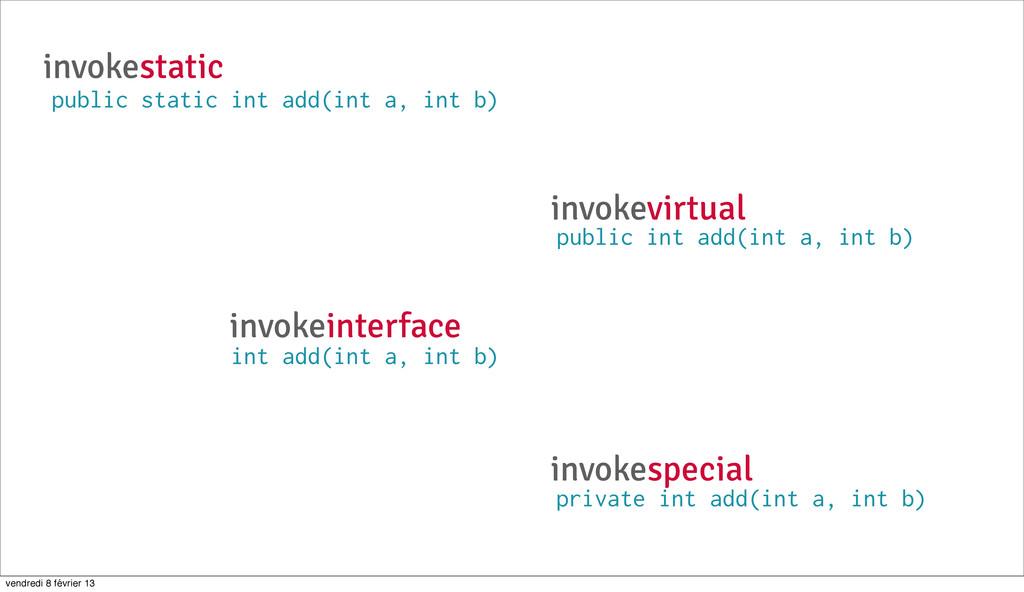 invokestatic public static int add(int a, int b...