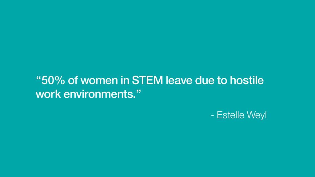 """- Estelle Weyl """"50% of women in STEM leave due ..."""