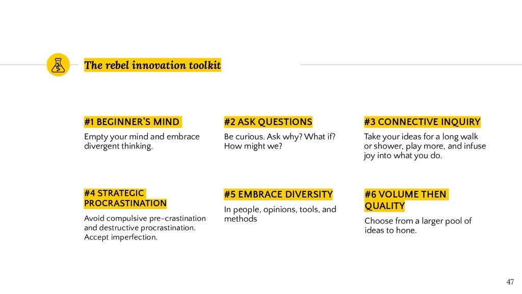 The rebel innovation toolkit #1 BEGINNER'S MIND...